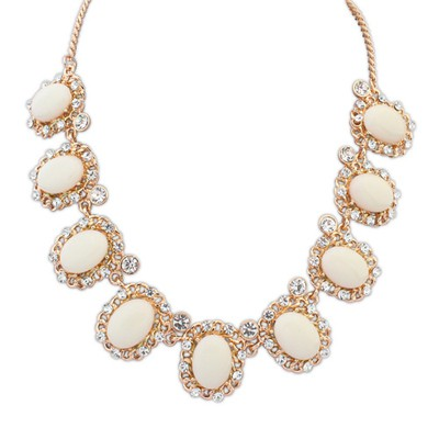 Tattoo beige gemstone decorated simple design alloy Bib Necklaces
