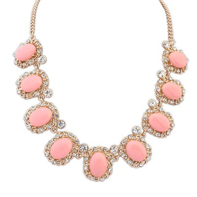 Vibrating pink gemstone decorated simple design alloy Bib Necklaces