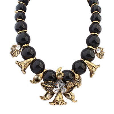 Ruffled black horn decorated beads design alloy Bib Necklaces
