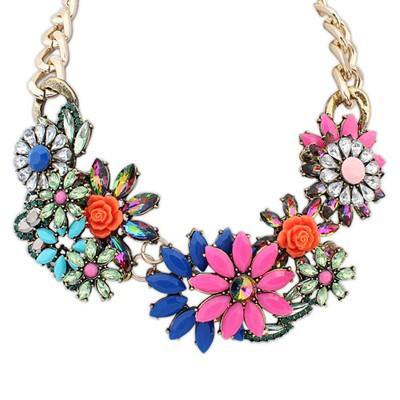 Mint multicolor gemstone decorated flower design alloy Bib Necklaces