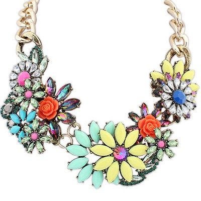 Colorful multicolor gemstone decorated flower design alloy Bib Necklaces