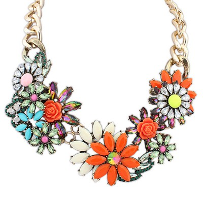 Square multicolor gemstone decorated flower design alloy Bib Necklaces