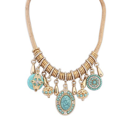 Greek light blue round shape decorated tassel design alloy Bib Necklaces