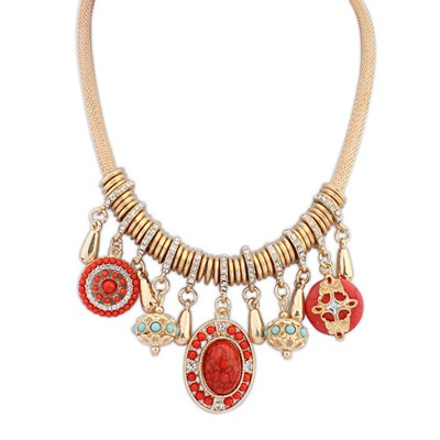 18K red round shape decorated tassel design alloy Bib Necklaces