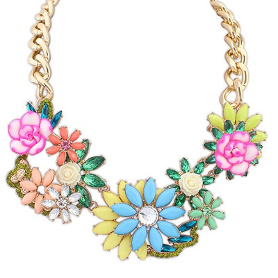 Monarch multicolor gemstone decorated flower design alloy Bib Necklaces