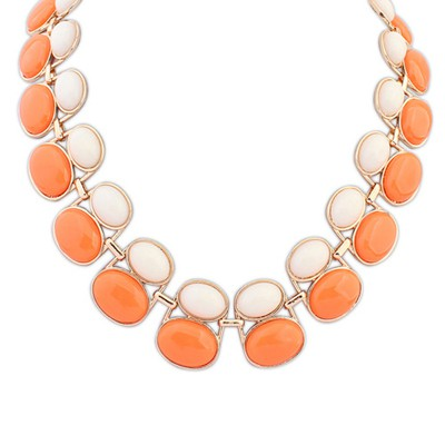 Clutch beige & orange gemsotne decorated double-layer beads design alloy Bib Necklaces