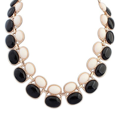 Twilight black & beige gemsotne decorated double-layer beads design alloy Bib Necklaces