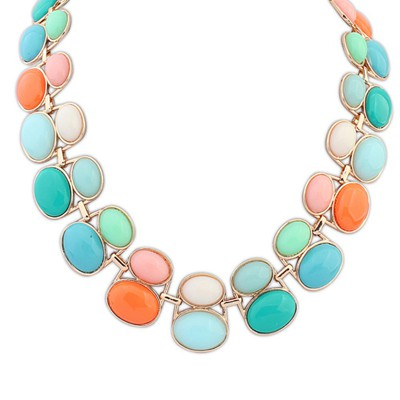 Ruffled multicolor gemsotne decorated double-layer beads design alloy Bib Necklaces