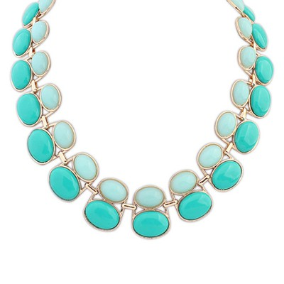 Mens light blue & green gemsotne decorated double-layer beads design alloy Bib Necklaces