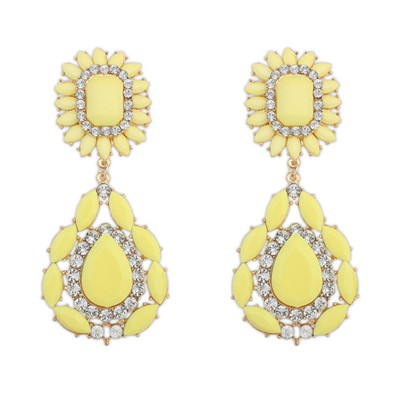 Facial yellow gemstone decorated flower design alloy Korean Earrings