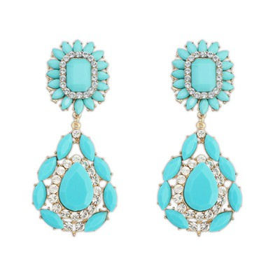 Glossy blue gemstone decorated flower design alloy Korean Earrings