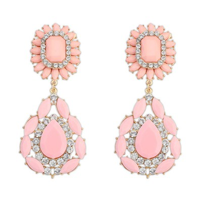 Chunky pink gemstone decorated flower design alloy Korean Earrings
