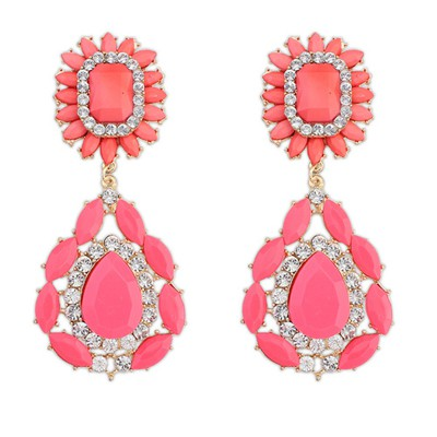 Jogging watermelon red gemstone decorated flower design alloy Korean Earrings
