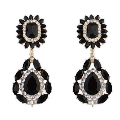 Rachel black gemstone decorated flower design alloy Korean Earrings