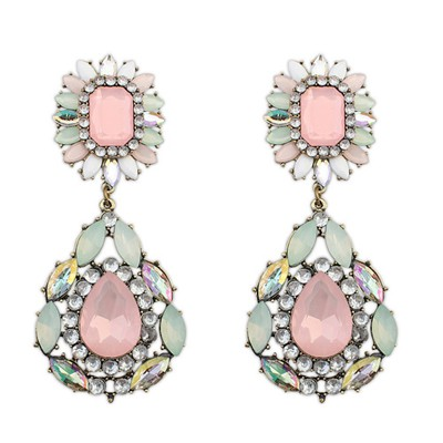 Cheap multicolor gemstone decorated flower design alloy Korean Earrings