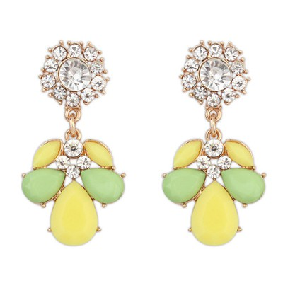 Lightning yellow & green CZ diamond decorated petal design alloy Korean Earrings