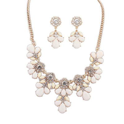 2013 beige gemsotne decorated petal design alloy Jewelry Sets