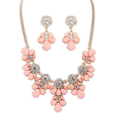 Sheer pink gemsotne decorated petal design alloy Jewelry Sets