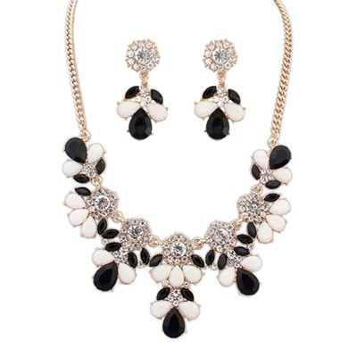Sample black & white gemsotne decorated petal design alloy Jewelry Sets