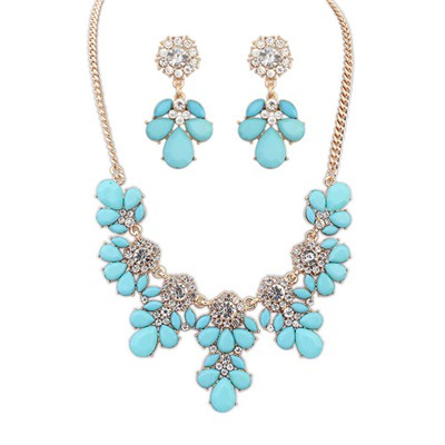 Catholic light blue gemsotne decorated petal design alloy Jewelry Sets