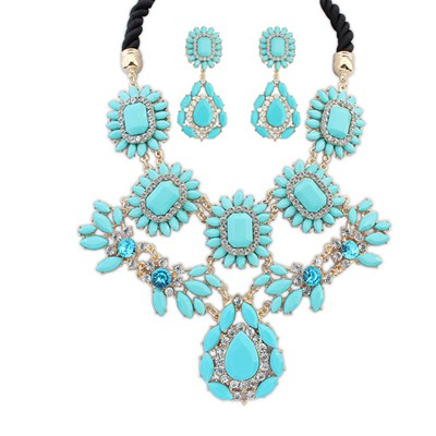 Metallic blue gemstone decorated flower design alloy Jewelry Sets