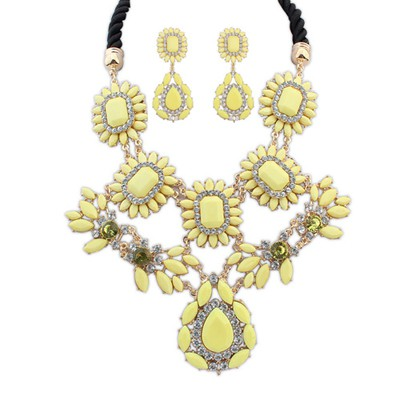 Convertibl yellow gemstone decorated flower design alloy Jewelry Sets