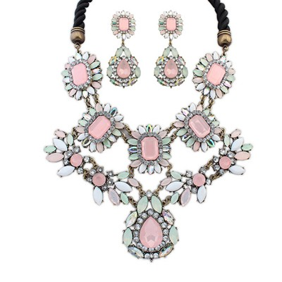 Cocktail multicolor gemstone decorated flower design alloy Jewelry Sets