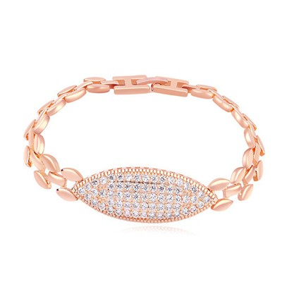 Airmail white & rose gold CZ diamond decorated rhomb design zircon Crystal Bracelets