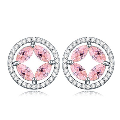 Unique pink CZ diamond decorated round shape design zircon Crystal Earrings