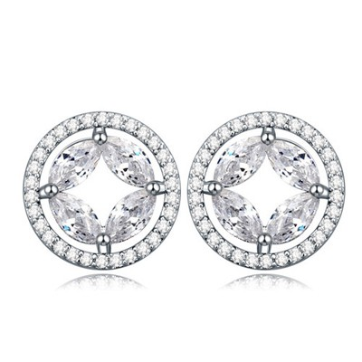 Facial white CZ diamond decorated round shape design zircon Crystal Earrings