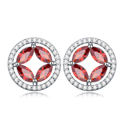 Adjustable Pomegranate red CZ diamond decorated round shape design zircon Crystal Earrings
