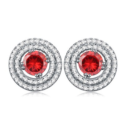 Waxing Pomegranate red CZ diamond decorated round shape design zircon Crystal Earrings