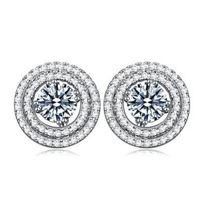 Chiropract white CZ diamond decorated round shape design zircon Crystal Earrings
