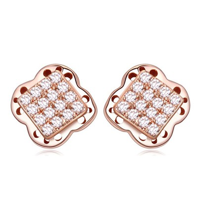 Inspiratio white&rose gold square shape decorated flower design zircon Crystal Earrings