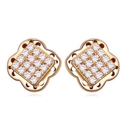 Funny white&Champagne gold square shape decorated flower design zircon Crystal Earrings