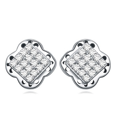 Avalon white&platinum square shape decorated flower design zircon Crystal Earrings