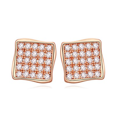 Indian white&rose gold CZ diamond decorated square shape design zircon Crystal Earrings