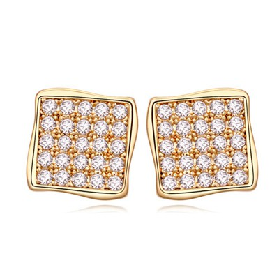 Juniors white&Champagne gold CZ diamond decorated square shape design zircon Crystal Earrings
