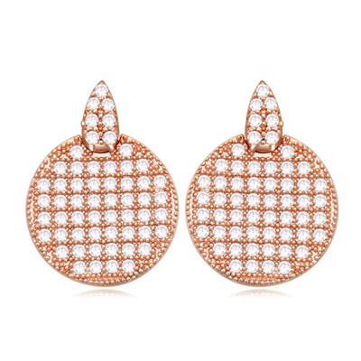 Upper white&rose gold CZ diamond decorated round shape design zircon Crystal Earrings