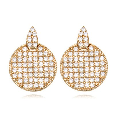 Guardian white&Champagne gold CZ diamond decorated round shape design zircon Crystal Earrings