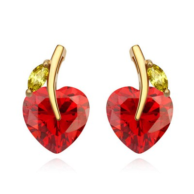Small red CZ diamond decorated heart shape design zircon Crystal Earrings