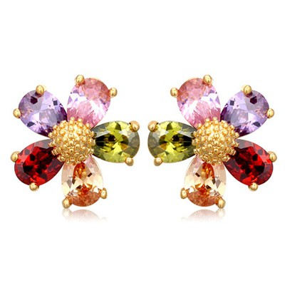 Order multicolor CZ diamond decorated flower design zircon Crystal Earrings