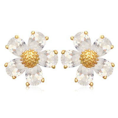 Premier white CZ diamond decorated flower design zircon Crystal Earrings