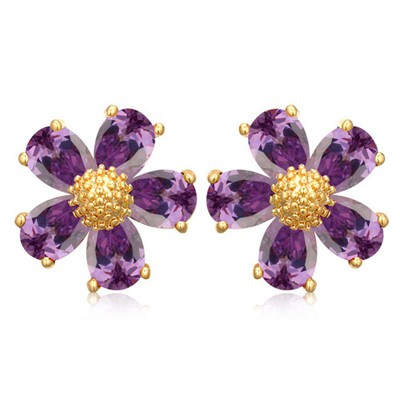 Fused purple CZ diamond decorated flower design zircon Crystal Earrings