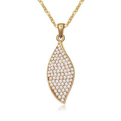 Short white&Champagne gold CZ diamond decorated leaf shape design zircon Crystal Necklaces