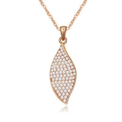 Dash white&rose gold CZ diamond decorated leaf shape design zircon Crystal Necklaces