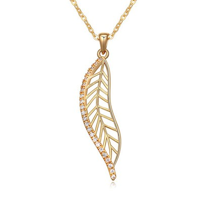 Infinity white&Champagne gold CZ diamond decorated leaf shape design zircon Crystal Necklaces