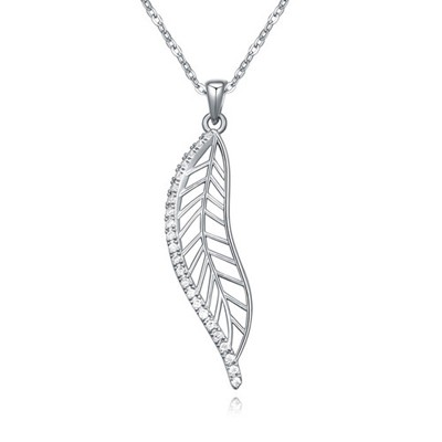Fresh white&platinum CZ diamond decorated leaf shape design zircon Crystal Necklaces