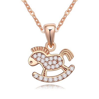 Discount white&rose gold CZ diamond decorated horse pendant design zircon Crystal Necklaces