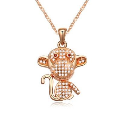 Layered white&rose gold CZ diamond decorated monkey pendant design zircon Crystal Necklaces